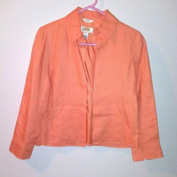 Talbots Jackets & Blazers - Talbots Irish Linen Jacket Open front Peach Lined